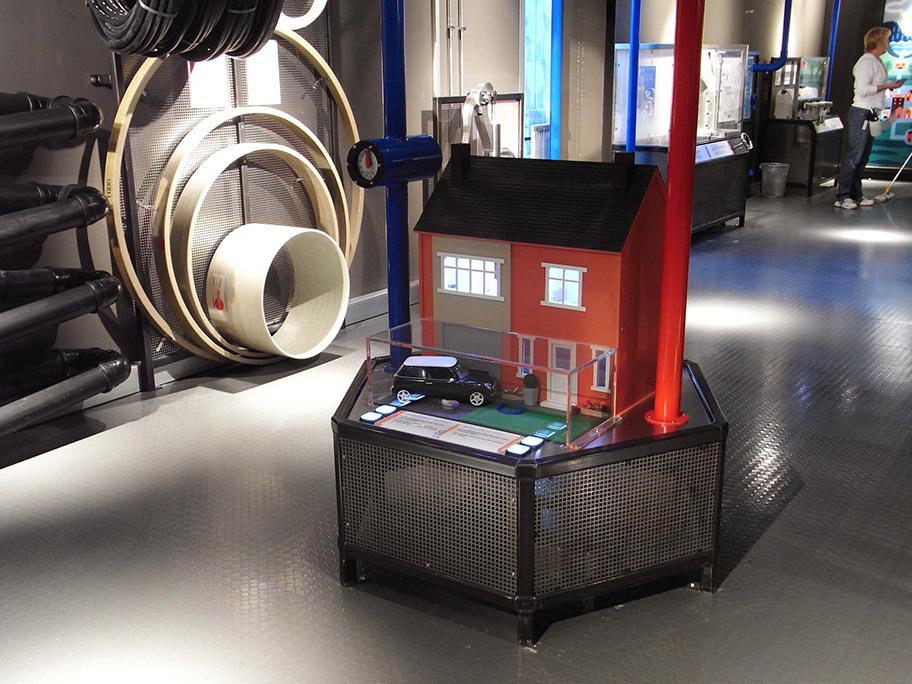 The interactive 'water usage' dolls house and pipes diameters exhibit